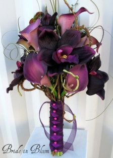 This elegant wedding bouquet of eggplant lilac calla lilies and plum orchids is a one of a kind Bride in Bloom original design. Real touch callas lilies are soft to touch and look so real, you are sure to love them. There are 6 plum callas & 4 plum orchids in this 8 bouquet, added bear grass and curly willow to make this a classy presentation one sided bouquet. Handle treatment is wrapped with satin & shear ribbon with twist shear ribbon overlay finished with fuchsia pearl head pins…