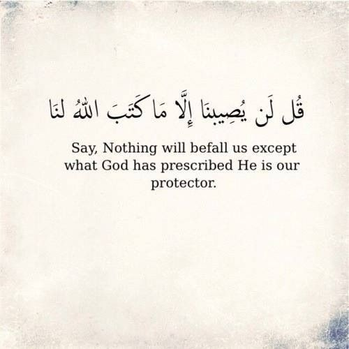 ". : : Quran 9:51 Say, ""Never will we be struck except by what Allah has decreed for us; He is our protector."" And upon Allah let the believers rely."