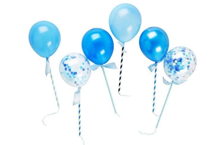 Prepare yourself for squeals of delight from your little guests and all those young at heart with these gorgeous and unique mini ballon pops by Poppies For Grace!  Each kit contains six balloon pops - 4 solid colour latex blue balloons, 2 confetti filled balloons. 6 straws, string, ribbon and instructions on how to make. Colours may vary.  These look FABULOUS on cakes, cupcakes, strung up on a garland and more - get creative!