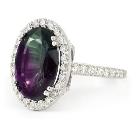 June: Large Oval Alexandrite Ring with Diamond Halo  @ReinaIndy