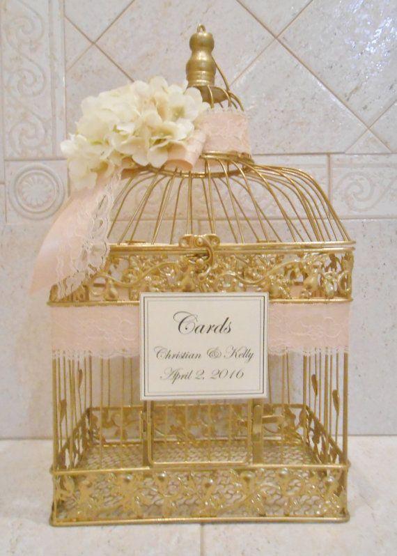 Large Gold Birdcage Wedding Card Holder / Wedding by ThoseDays