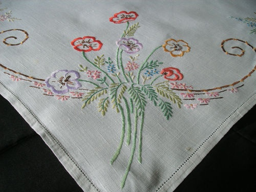 Elegant Vintage Hand Embroidered Floral Tablecloth