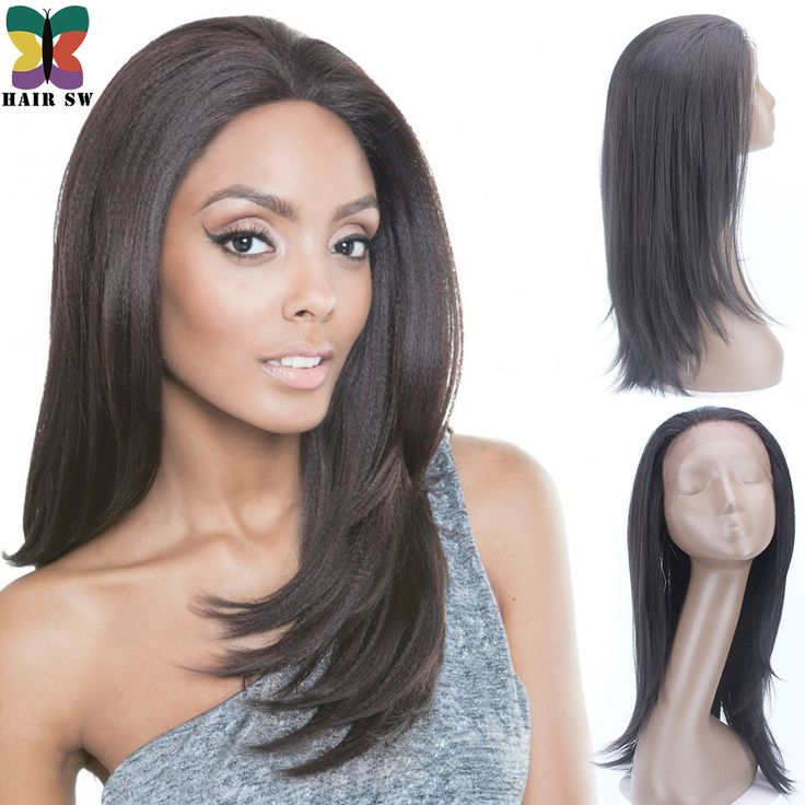 Synthetic Glueless Swiss lace front wig Natural Silky straight Layered hand tied Hairline wig Heat Resistant for Black Women