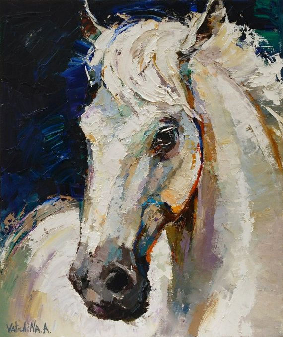 White horse painting  original oil painting on by ValArtGallery