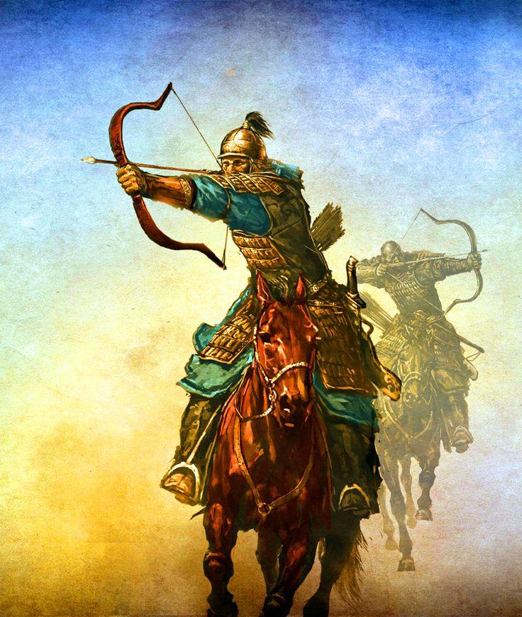 Mongol horse archers charging into battle