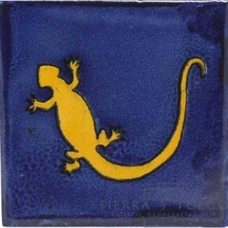 Yellow Gecko in Blue Talavera Mexican Tile