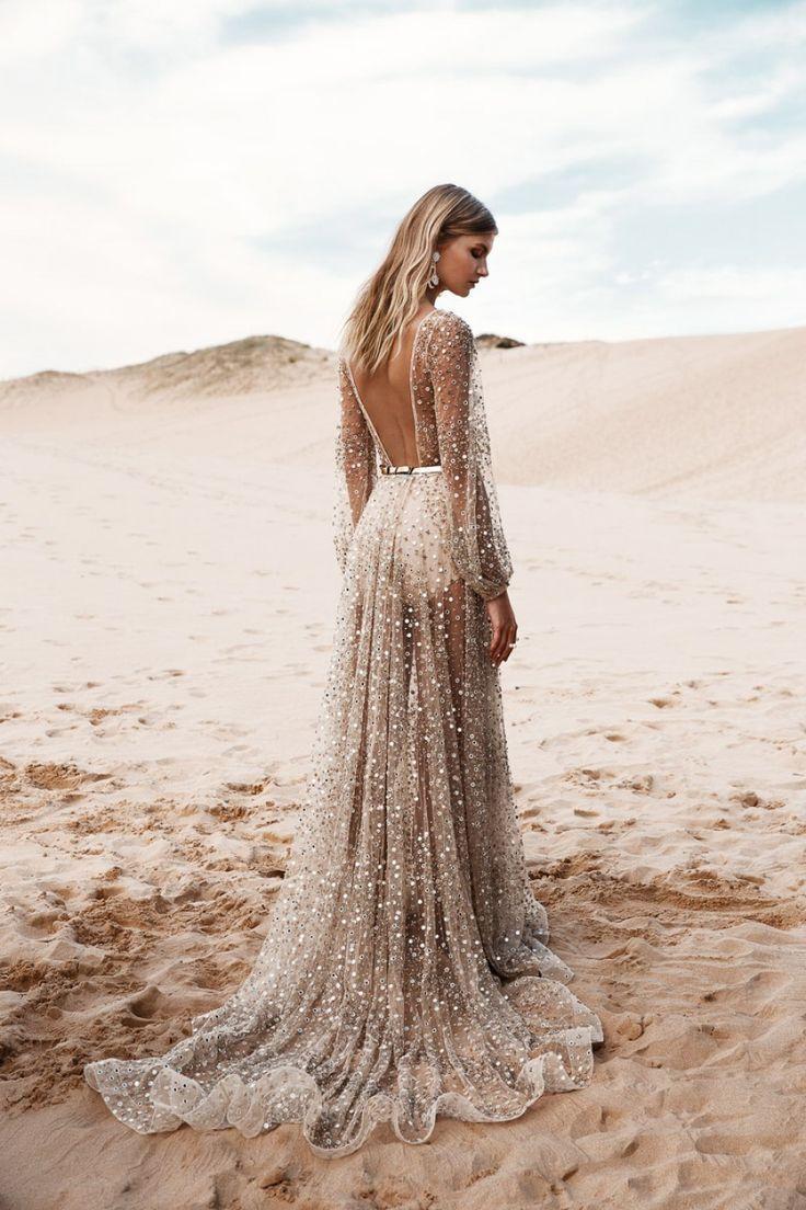 glittering, celestial blush wedding dress for a destination beach wedding. https://www.facebook.com/blackfriday.cybermonday.2016/
