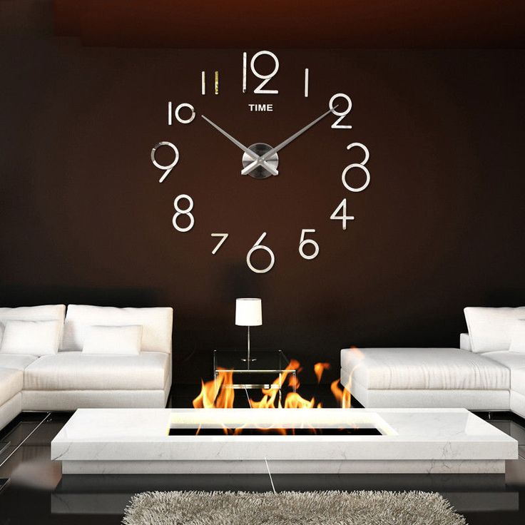 Ldiy Wall Novelty Clock Number Time Mirror Mute Simple Bedroom Home Decor
