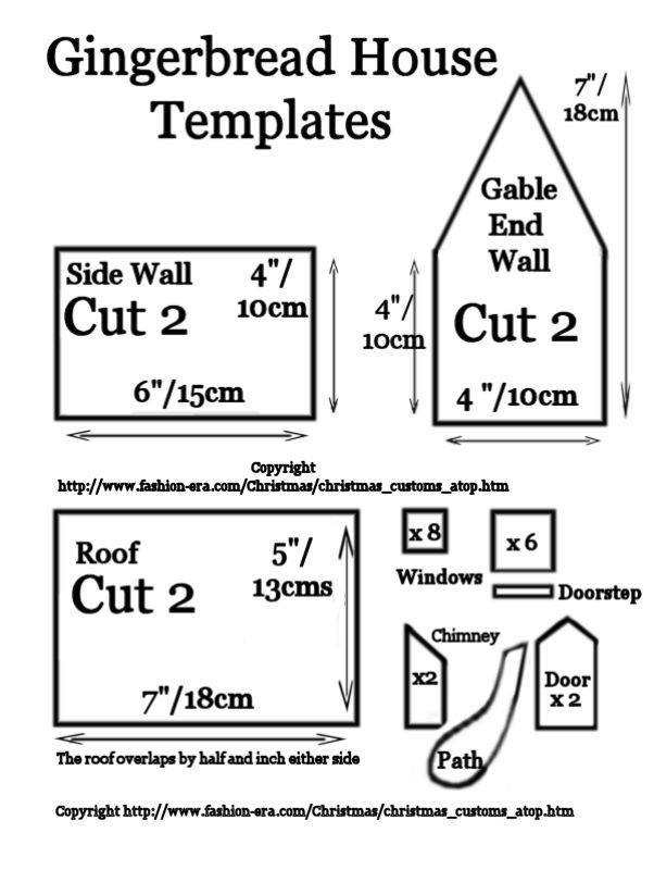Gingerbread Village Template | The Gingerbread House Shapes The Gingerbread House Cooked Pieces