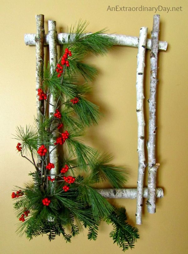 A wreath doesn't need to be round... it can be square... and it can even be made of birch sticks.  Don't miss this stunning, but ever-so-easy DIY Christmas wreath that is sure to turn heads.