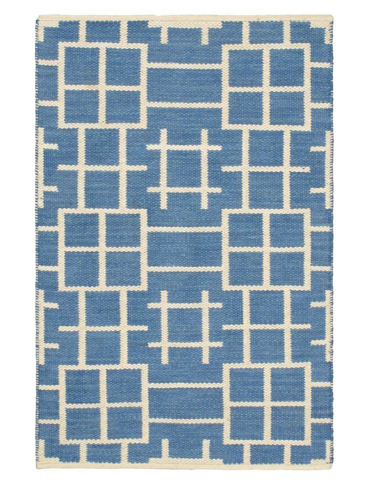 Hand Woven Natural Plush Wool Flatweave Kilim, Blue/Blue
