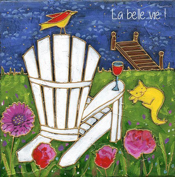 Ma chaise adirondak préférée par Isabelle Malo • Acrylique sur toile et collage • Mixed media • Folk art • www.isamalo.com • Artiste peintre du Québec • Art naïf