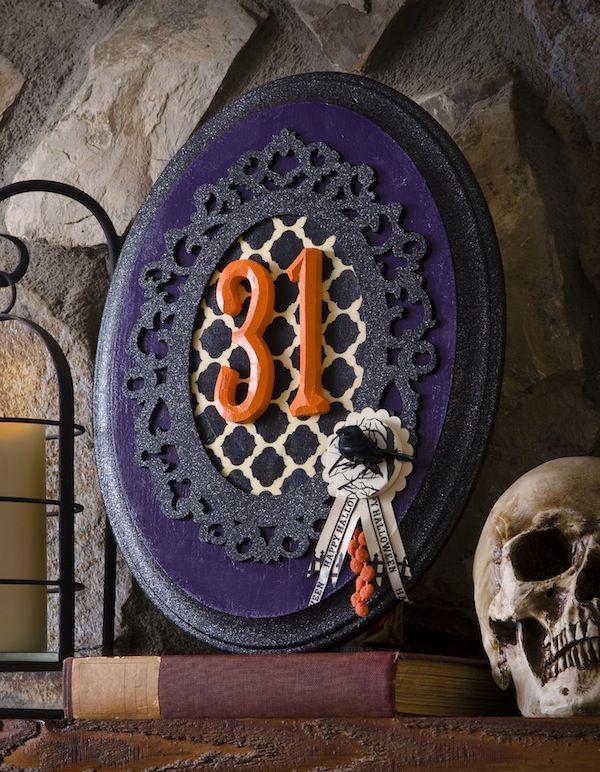 diy halloween decor typography glitter plaque - Glitter Halloween Decorations