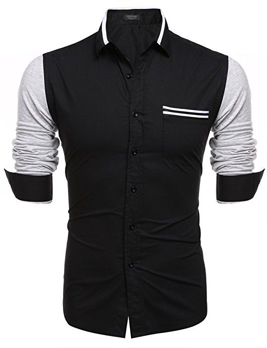 108964ba1534 COOFANDY Men s Classic Contrast Color Button Down Casual Long Sleeve Dress  Shirt at Amazon Men s Clothing store