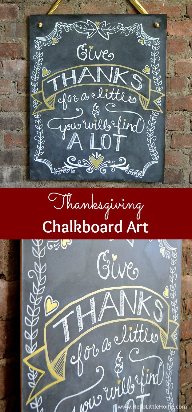 Decorate your home for holidays with this DIY Thanksgiving Chalkboard Art! Click through for a step by step tutorial!   Hello Little Home