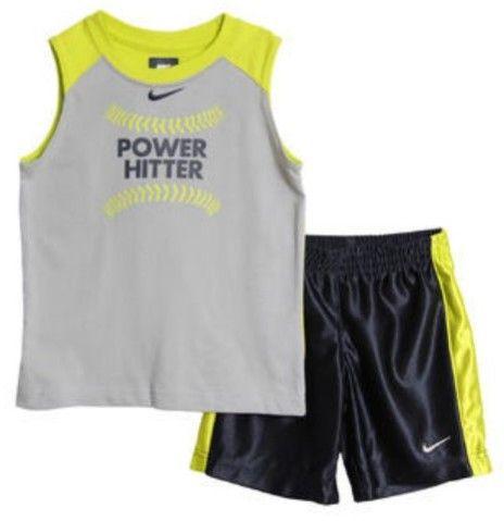 Nike Toddler & Little Boys Gray Power Hitter Tank Top & Shorts Muscle Shirt Set