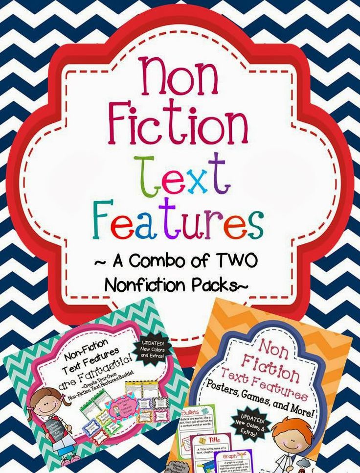 UPDATED! This combination package has new covers, new background colors, flashcards now have backgrounds colors, and new kid friendly fonts. Make text features booklets with your class, use posters as examples, use flashcards in centers or with games, and more!