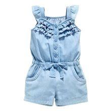 Niños Niñas Mamelucos de la Ropa de Algodón Lavar Los Pantalones Vaqueros de Mezclilla Azul Sin Mangas Arco Mono 0-5Y L07