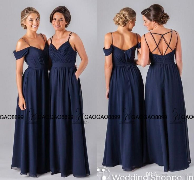 Jenny yoo 2016 navy blue chiffon long cheap bridesmaid for Cheap wedding dresses for guests