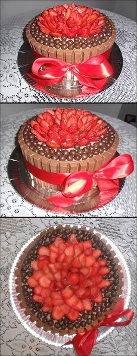bolo de kitkat com morangos kitkat cake