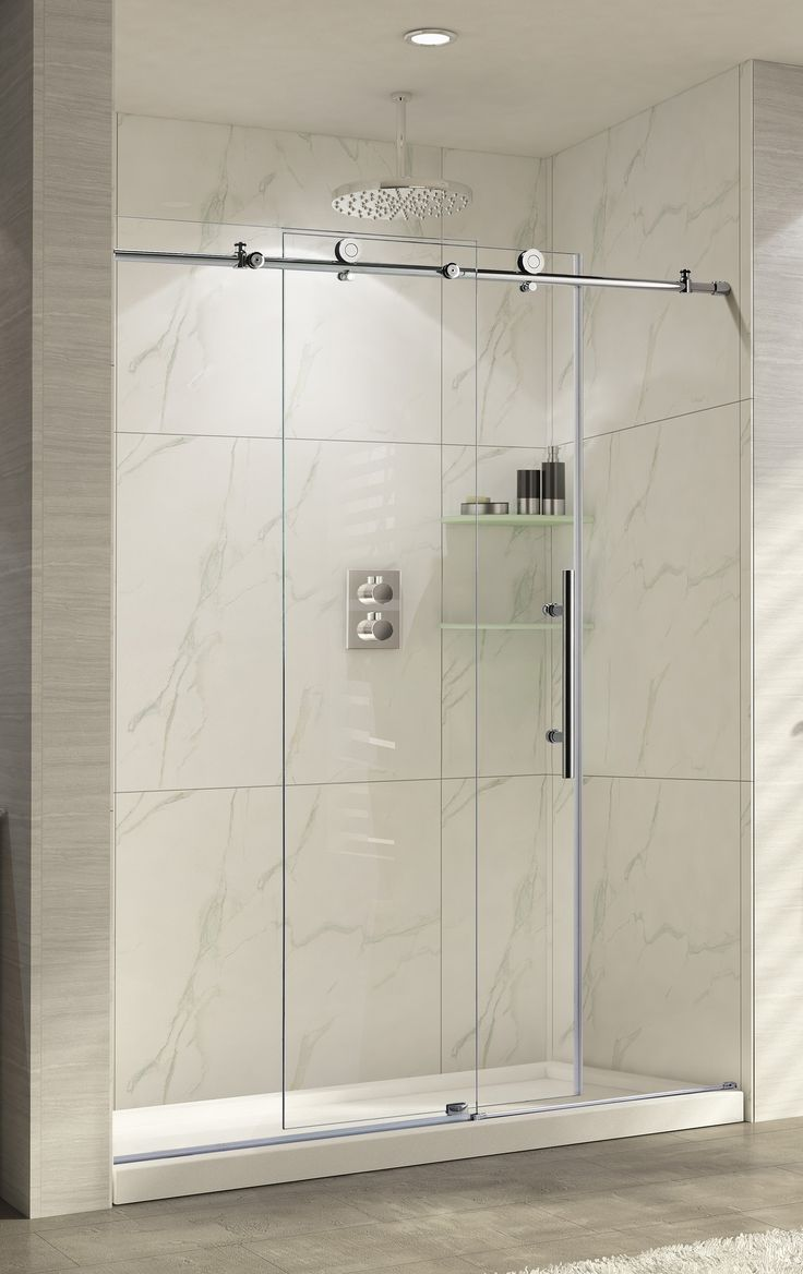 Bathroom shower doors frameless - Wet Republic Trident Lux 76 X 56 60 Sliding Brushed Nickel Shower Door