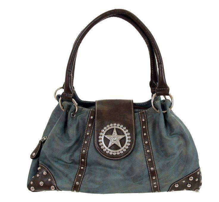 Nocona Blue Faux Leather w/ Star Concho & Rhinestones Handbag   http://cowgirldelight.com/nocona-blue-faux-leather-w-star-concho-rhinestones-handbag/
