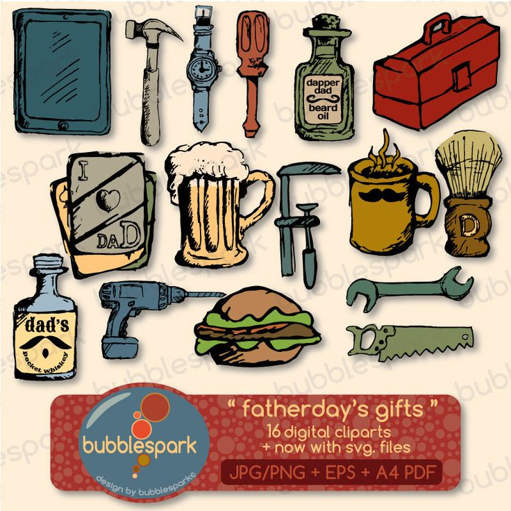 Father's day gifts - digital clip arts with tools, and items every dad uses, work tools, food items, and beauty products by bubblesparkstore on Etsy https://www.etsy.com/listing/151835392/fathers-day-gifts-digital-clip-arts-with
