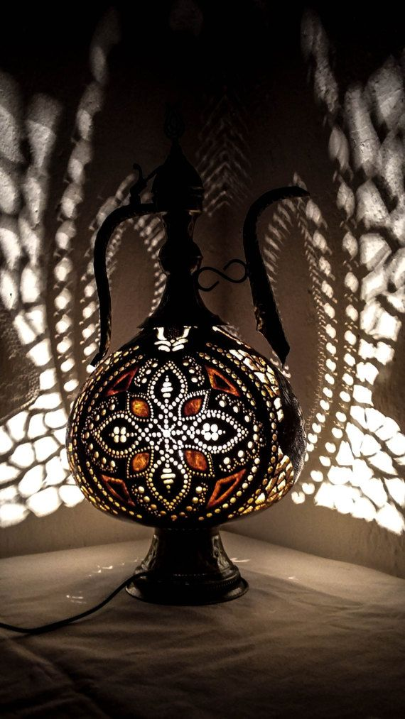 100% HANDMADE Gourd lamp Ottoman Turkish  Moroccan brass