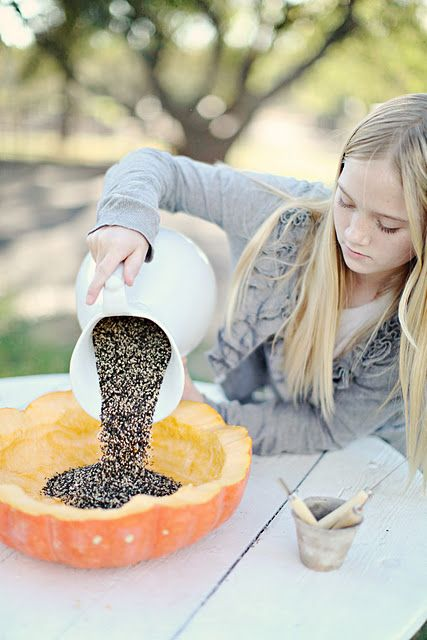 i'm in love with this idea...don't forget to feed our winter birds and squirrel's..  Fall bird feeder.. Birdies love cleaned pumpkin seeds!!