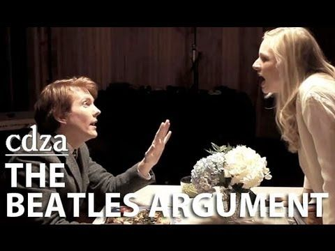 """Tess Soltau and Ryan Melia star as a couple who fights in 17 different songs by The Beatles in """"The Beatles Argument,"""" the latest music video by cdza. It features the musical stylings of New York City-based British classics rock band The BritPack."""