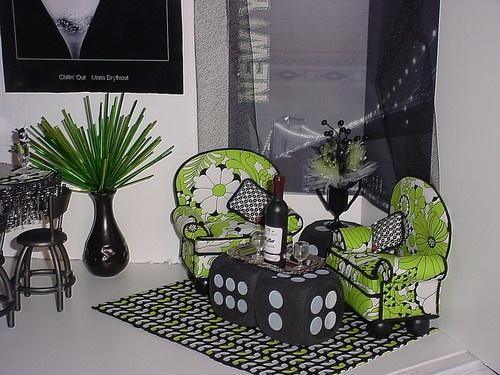Barbie OOAK House 1 6 Bar Pool Table Chairs Soda Furniture Diorama Huge Lot TH1   eBay