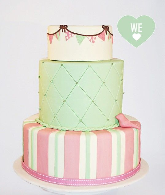 Green, Pink and Bunting Flag Cake