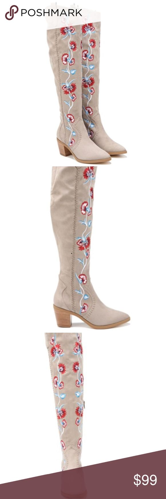 🔥NEW!🔥Carlos Santana Alexia Embroidered Boots These are just fabulous! I wear a true 10 and tried them on, and are they gorgeous, and comfortable!!   Fabric upper in a detailed boot style with round toe Inner side zip closure Decorative embroidery Western inspired stitching Twin pull tabs 18 inch shaft height, 15 inch circumference Smooth lining, cushioning insole for all-day comfort Traction outsole, 2 and 1/2 inch stacked heel. Please, no insulting offers, for sale only. No trades…