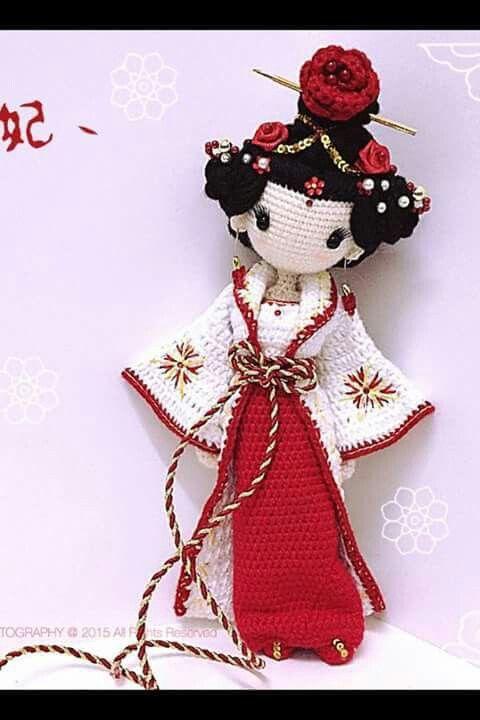 Amigurumi Geisha ❥ 4U hilariafina http://www.pinterest.com/hilariafina/