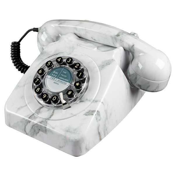 Wild and Wolf 746 Phone - Marble - retro stone-finish telephone