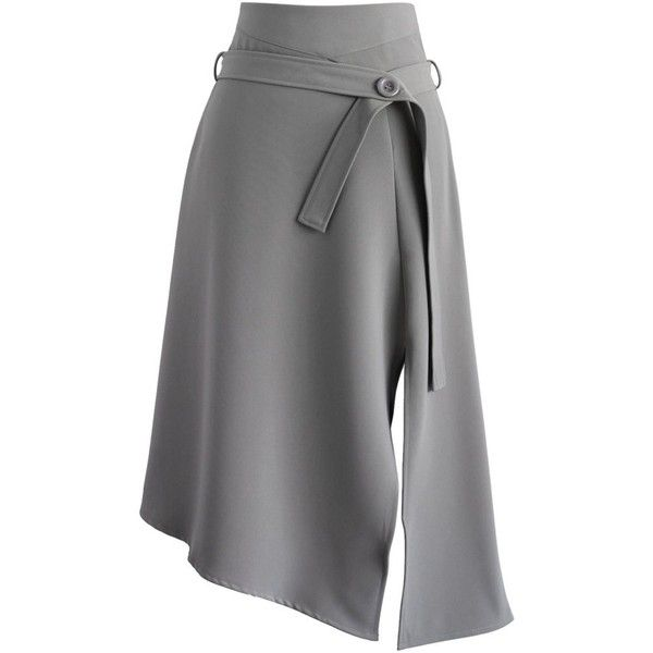 Chicwish Bravo Split Hem Midi Skirt in Grey ($51) ❤ liked on Polyvore featuring skirts, grey, grey midi skirt, gray midi skirt, gray skirt, calf length skirts and midi skirt