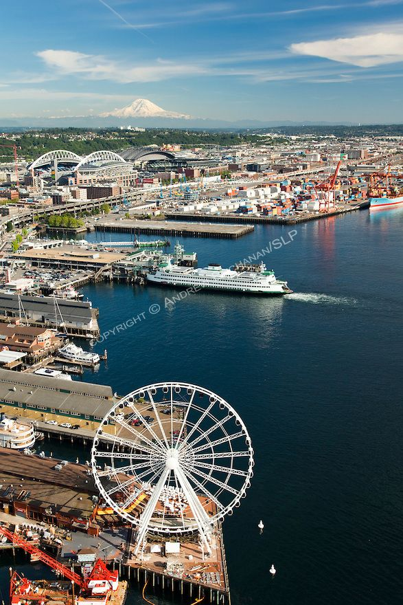 Seattle, sky view of Pier 57