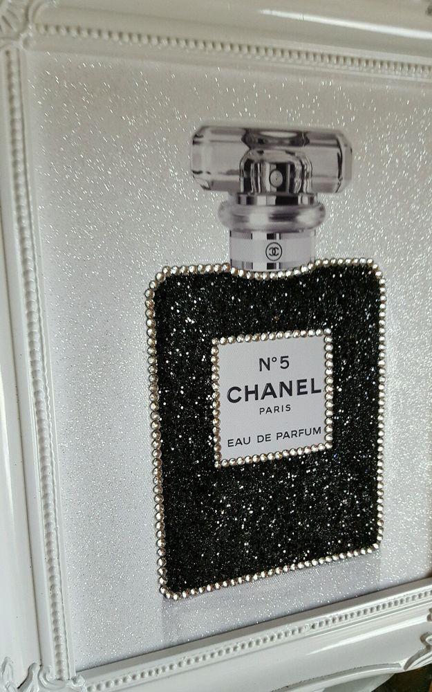 Unique 10x8 Shabby Chic Chanel No5 Canvas Print Swarovski Crystals, Glitter.. | eBay