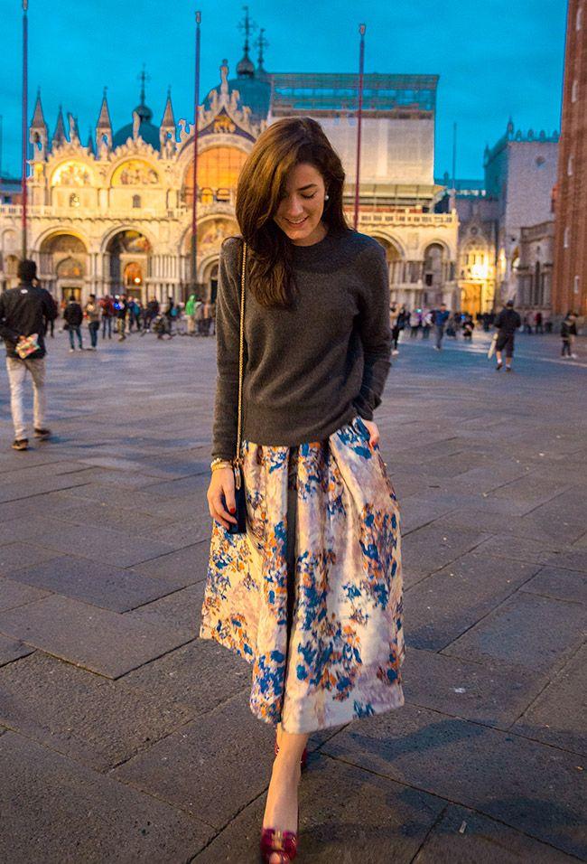 Charcoal sweater, L.K. Bennett skirt, Ferragamo peep-toe shoes (Classy Girls Wear Pearls)