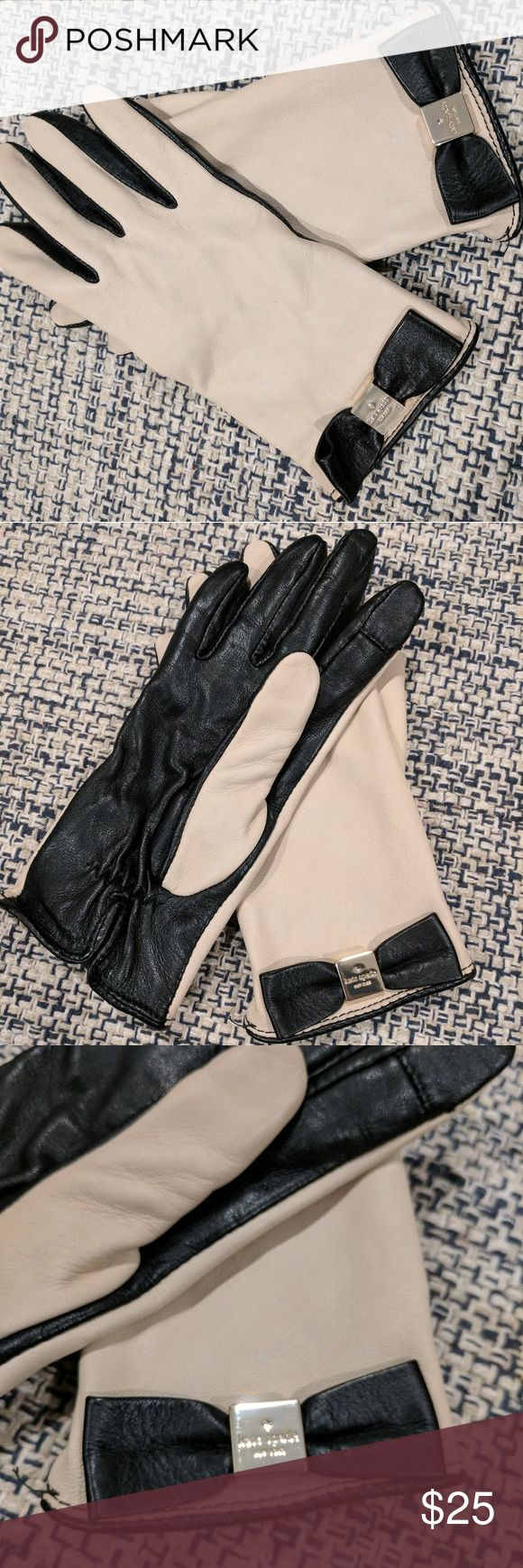 Kate Spade Short Cream Gloves Kate Spade classy gloves to drive around in your vintage car. Cream and black sheep skin leather. Black bow. Gold emblem. Touch point finger feature. Soft inside. Size 6.5. I would call them small. Never worn. kate spade Accessories Gloves & Mittens