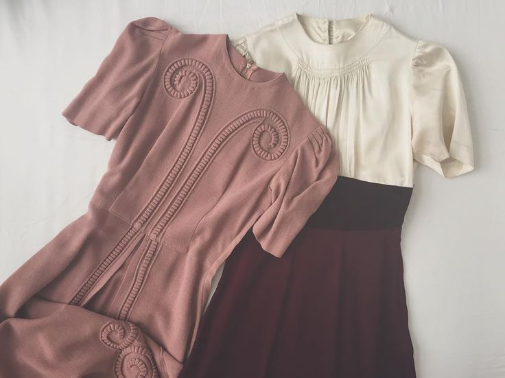 Late 1930s old rose dress and 1940s satin & velvet dress, from Ida Cathrine (@idacath) on Instagram. #truevintage