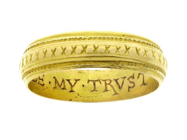 Engraved posy ring, 'ALLE MY TRVST', 16th century.