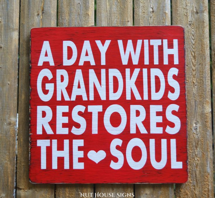 Grandparents Sign Grandma Grandpa Gift Hand Painted Rustic Wood Sign Grandchildren Quote Inspirational Nana Papa Kids Wall Art Wooden Plaque
