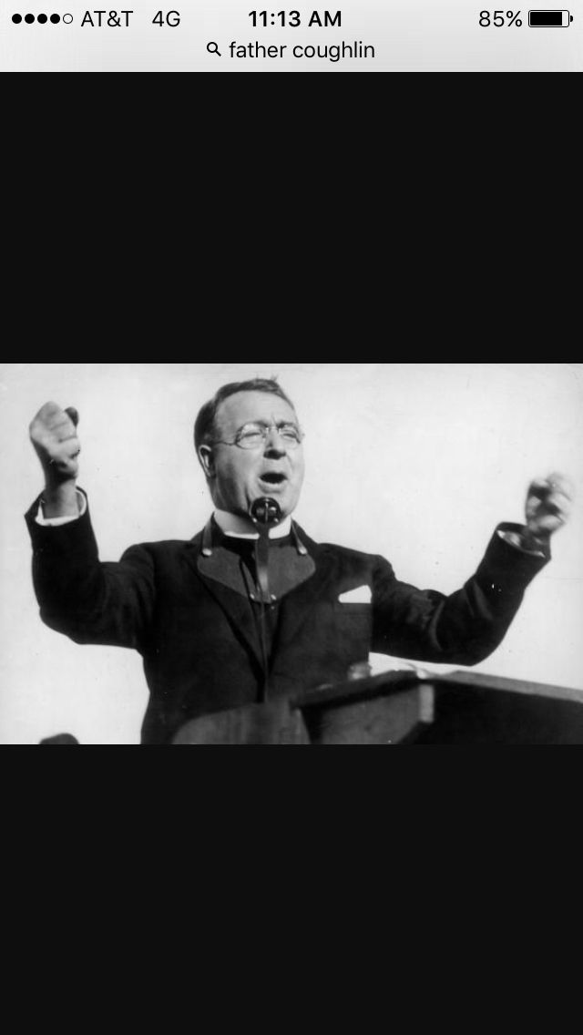 This is a picture of Charles Coughlin. He was a catholic priest. He is best known as Father Coughlin. He gained fame from speaking against FDR. He even went on radio shows to speak about the president.