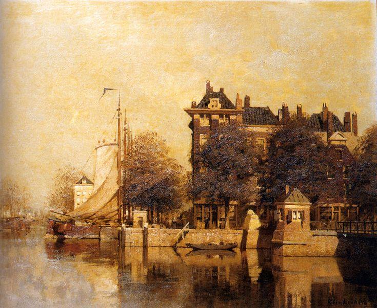 Johannes Christiaan Karel Klinkenberg (1852-1924) Moored Sailing Vessels Along A Quay, Amsterdam