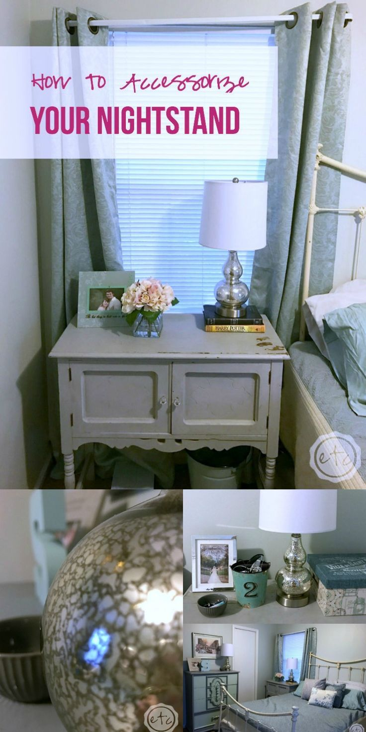 How to accessorize your nightstand... this gal has so many good ideas! My nightstands are always a mess.