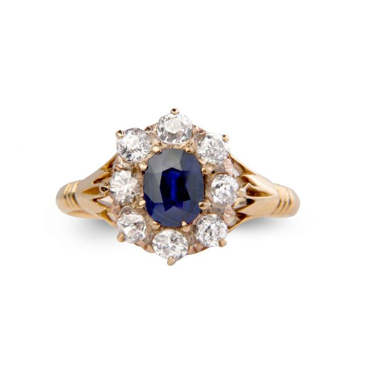 BB16 18ct Yellow And Rose Gold Victorian Sapphire And Diamond Cluster Ring