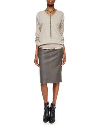 Cashmere Boyfriend V-Neck Sweater, Reversible Satin V-Neck Bias-Cut Tank & Leather Stretch Pencil Skirt by Brunello Cucinelli at Neiman Marcus.