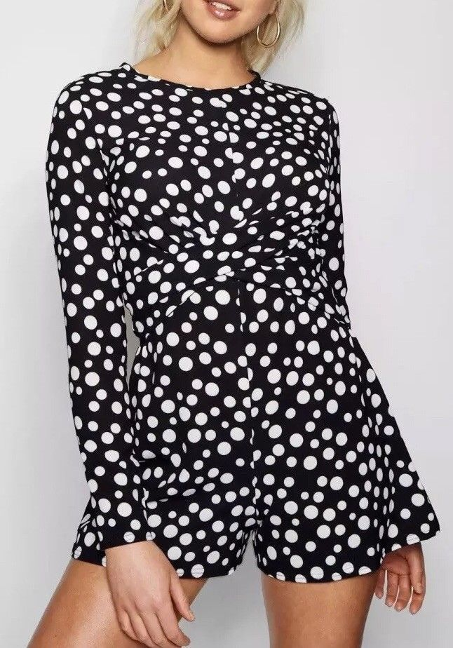 4c7a6270503 FREE POST Brand New Boohoo Black White Polka Dot Playsuit Jumpsuit Size 8   fashion  clothing  shoes  accessories  womensclothing  jumpsuitsrompers ( ebay ...