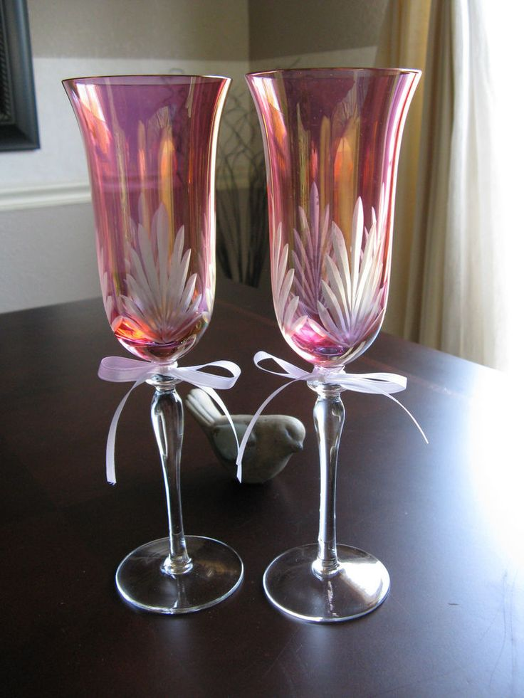 New elegant pink clear etched champagne wedding toasting